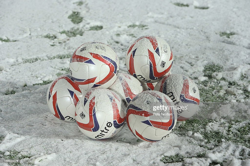 Balls on the pitch prior to the npower League Two match between Aldershot Town and Northampton Town at the EBB Stadium on January 22, 2013 in Aldershot, England.