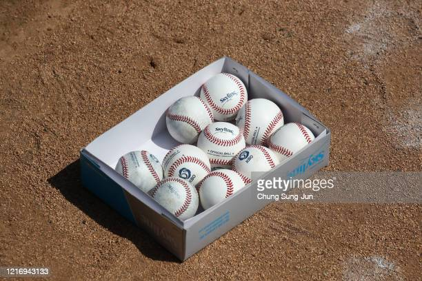Balls seen ahead of LG Twins team's intrateam game to be broadcasted online for their fans at a empty Jamshil baseball stadium as South Koreans take...