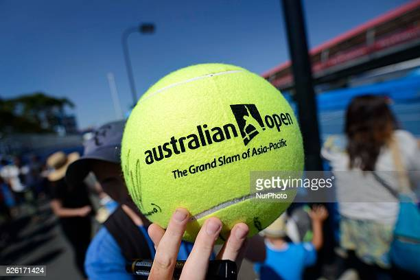 Balls with logo on display ahead of the 2016 Australian Open tennis tournament in Melbourne on January 16 2016