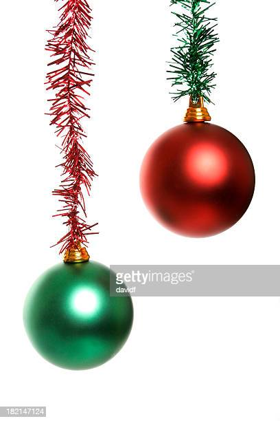 ballsgreenred - tinsel stock pictures, royalty-free photos & images