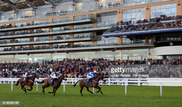 Ballyheigue Bay and James bowen lead the field home to win The racingukcom/Clubdays Handicap Hurdle Race run during The Betfair Ascot Chase Raceday...