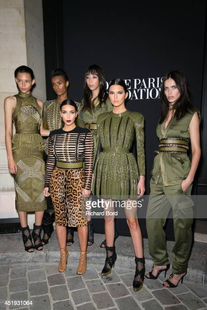 Balmain Army models Binx Walton Ysaunny Brito Issa Lish Amanda Wellsh Kim Kardashian and her sister Kendall Jenner attend the Vogue Foundation Gala...
