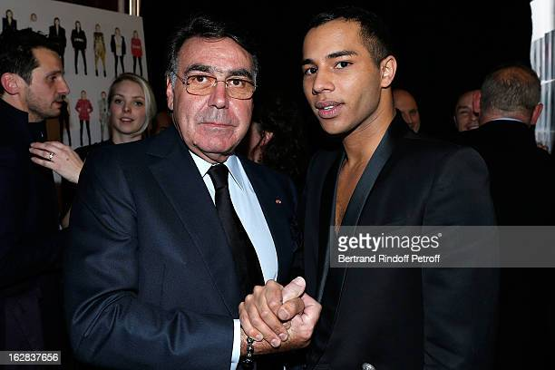 Balmain CEO Alain Hivelin and Designer Olivier Rousteing pose at the Balmain Fall/Winter 2013 ReadytoWear show as part of Paris Fashion Week on...