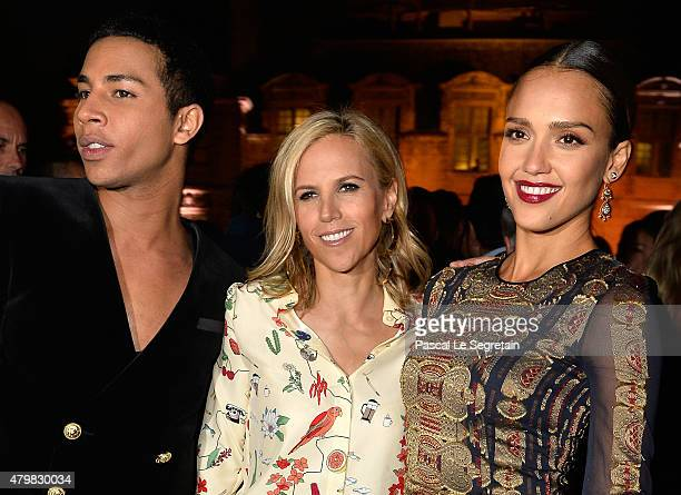 Balmain Creative Director Olivier Rousteing, Tory Burch and actress Jessica Alba attend the Tory Burch Paris Flagship store opening after party at on...