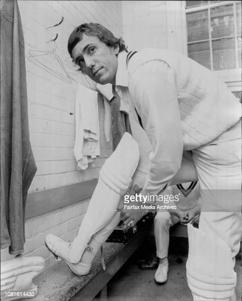Balmain Cricketer Hugh Martin putting on his pads October 01 1973