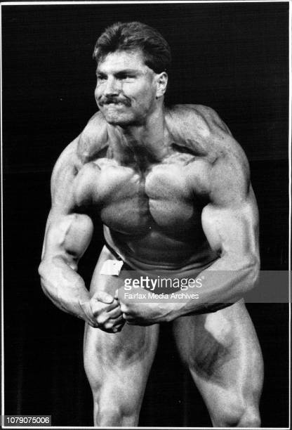 Balmain Policeman Craig Bennett competing in the Heavy Weight section of the body building at the Police Olympics October 12 1988