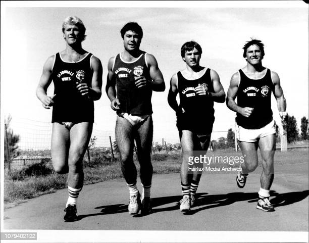 Balmain RL Team first training run outside LeichardtFour NSW Players Paul Sironen Scott Gale Craig Higgings and David Fitzgerald January 7 1985