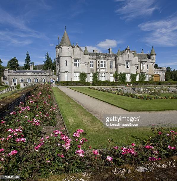 Balmoral Castle from the walled rose garden residence of the British Royal Family Royal Deeside Aberdeenshire Scotland United Kingdom