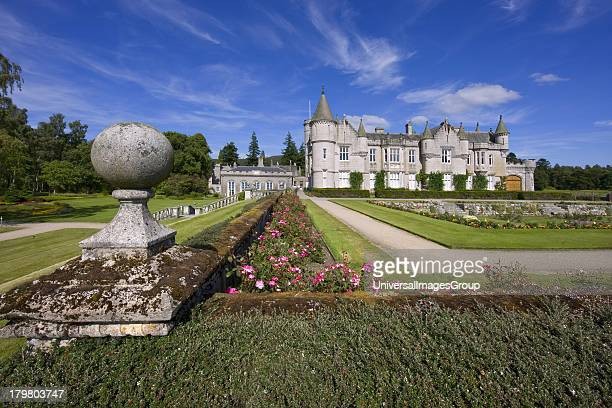 Balmoral Castle from walled garden residence of the British Royal Family since 1852 Aberdeenshire Scotland United Kingdom