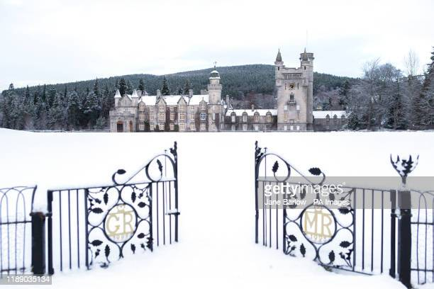 Balmoral Castle, Royal Deeside, in the snow. The Met Office has issued a yellow weather warning for ice and snow across Scotland.