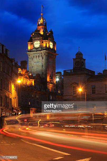 balmoral hotel at night - balmoral hotel stock pictures, royalty-free photos & images