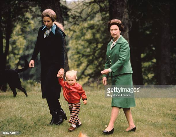 Scotland Balmoral Castle The Royal Family Princess Anne And Daughter And Queen Elizabeth Ii