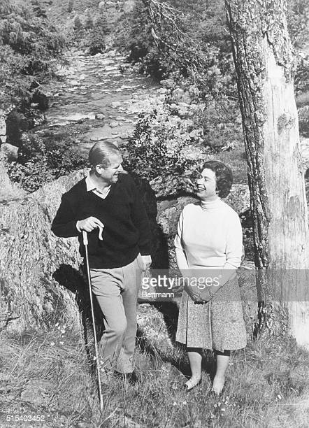 Silver Wedding Anniversary Britain's Queen Elizabeth II and her husband Prince Philip the Duke of Edinburgh relax at Balmoral This picture has been...