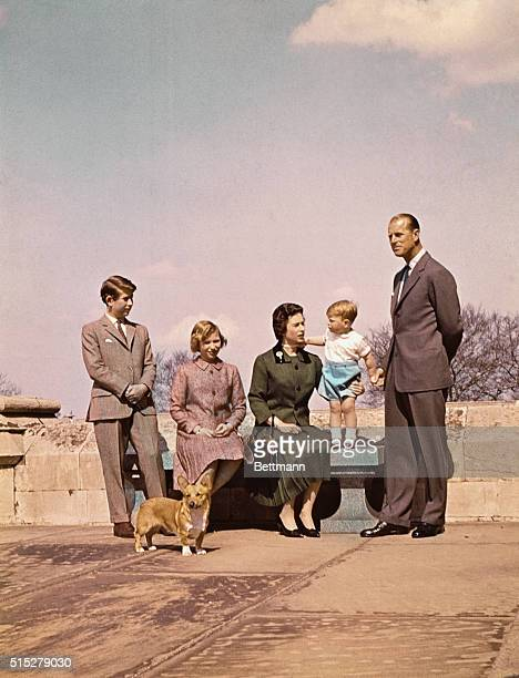The Royal family at Balmoral Castle during visit October 1960 Prince Charles Queen Elizabeth Prince Andrew Prince Phillip and Princess Anne