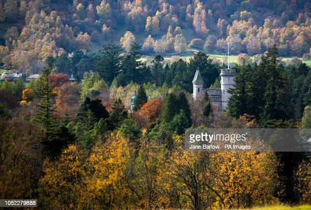Balmoral surrounded by autumn colours on Royal Deeside, Aberdeenshire.