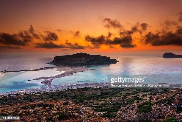 Balos beach at sunset