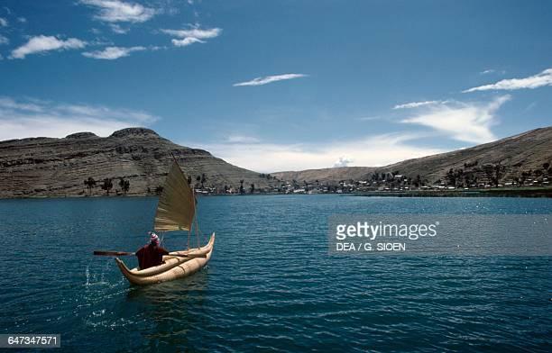 Balsa wood boat made from interwoven totora reeds Lake Titicaca Bolivia
