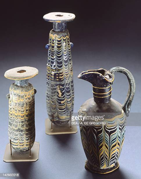 Balsamario ointment jars in glass paste and polychrome decorations from Irnum Campania Italy Italic Civilization ca 4th and 3rd Centuries BC Salerno...