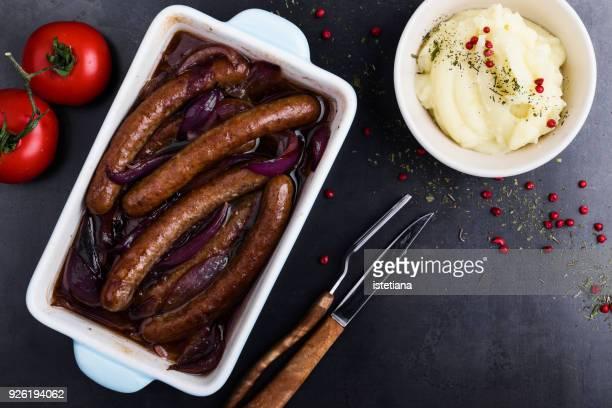 Balsamic sausage and red onion bake