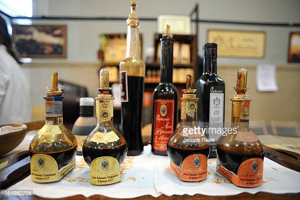 Balsamic vinegar from Modena is displayed on a stand at the Slow Food's Salone del Gusto and Terra Madre on October 29 2012 in Turin Italy