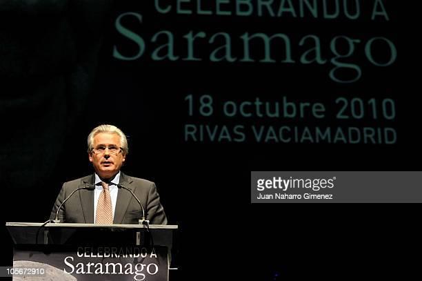 Baltasar Garzon attends Jose Saramago's tribute at Auditorio Pilar Bardem on October 18 2010 in RivasVaciamadrid Spain