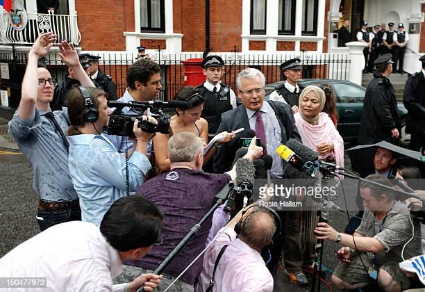 Baltasar Garzon lawyer of Wikileaks founder Julian Assange speaks outside the Ecuador embassy in Knightsbridge on August 19 2012 in London England Mr...