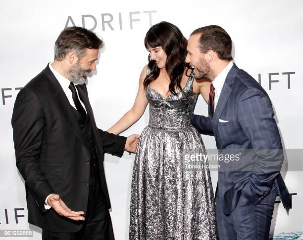 Baltasar Kormakur Shailene Woodley and Sam Claflin attend the premiere of 'Adrift' at Regal LA Live Stadium 14 on May 23 2018 in Los Angeles...