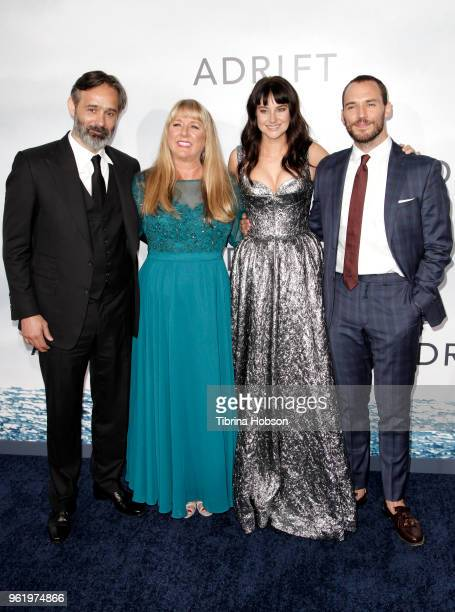 Baltasar Kormakur Tami Oldham Ashcraft Shailene Woodley and Sam Claflin attend the premiere of 'Adrift' at Regal LA Live Stadium 14 on May 23 2018 in...