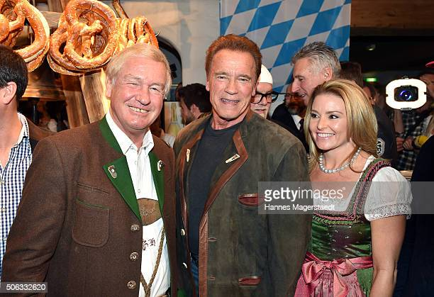 Balthasar Hauser Arnold Schwarzenegger and girlfriend Heather Milligan during the Weisswurstparty at Hotel Stanglwirt on January 22 2016 in Going...