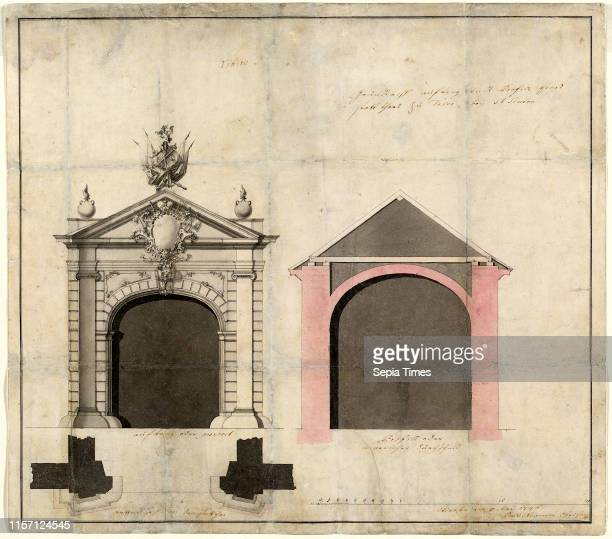 Balthasar Neumann , Design for a City Gate in Trier pen and gray ink with gray and pink wash over graphite on laid paper.