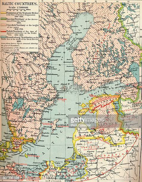 Baltic Countries' c1907 A map of the Baltic Countries From The World's History Volume VI Edited by Dr H F Helmolt [William Heinemann London 1907]...