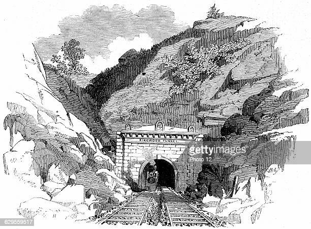 Locomotive emerging from the 4100 ft Kingwood Tunnel through the Alleghany Mountains From 'The Illustrated London News' May 1861 Wood engraving