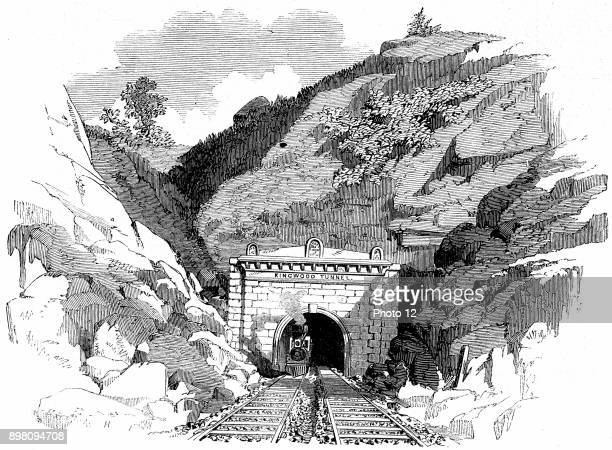 Baltimore and Ohio Railroad Locomotive emerging from the 4100 ft Kingwood Tunnel through the Alleghany Mountains From 'The Illustrated London News'...