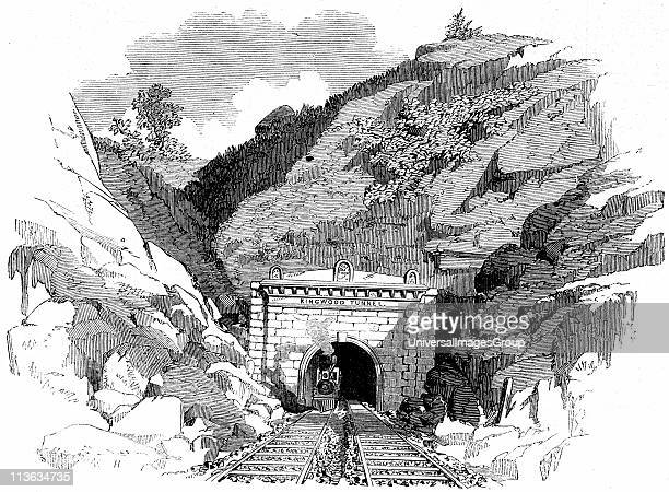Baltimore and Ohio Railroad Locomotive emerging from the 4100ft Kingwood Tunnel through the Alleghany Mountains From 'The Illustrated London News'...