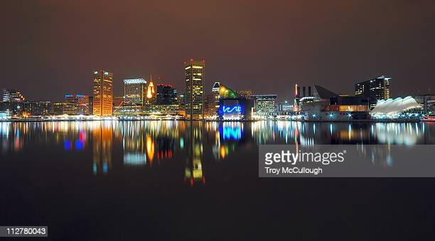baltimore at night - baltimore stock photos and pictures