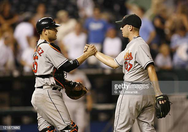 Baltimore catcher Ramon Hernandez and pitcher Chris Ray after the Orioles win over the Kansas City Royals at Kauffman Stadium in Kansas City Missouri...