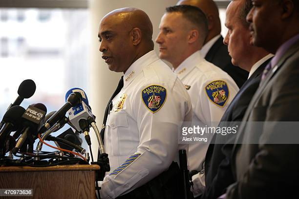 Baltimore City Police Commissioner Anthony Batts speaks during a news conference at the police headquarters April 24, 2015 in Baltimore, Maryland....