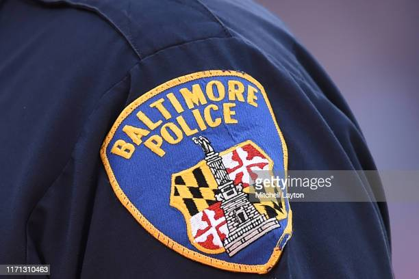 Baltimore City police emblem on a shirt during a baseball game between the Baltimore Orioles and the Baltimore Orioles at Oriole Park at Camden Yards...