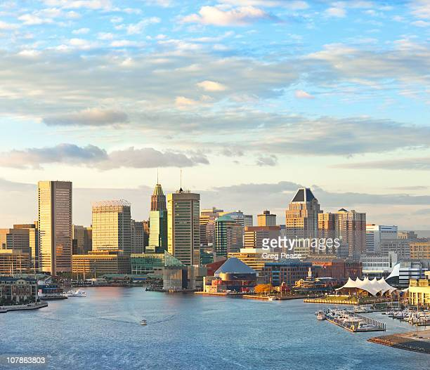 baltimore city skyline and inner harbor - baltimore maryland stock pictures, royalty-free photos & images