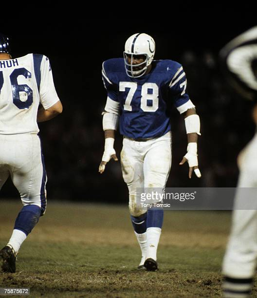 Baltimore Colts defensive end Bubba Smith comes to the line during a 2417 victory over the Los Angeles Rams on November 8 at Memorial Stadium in...