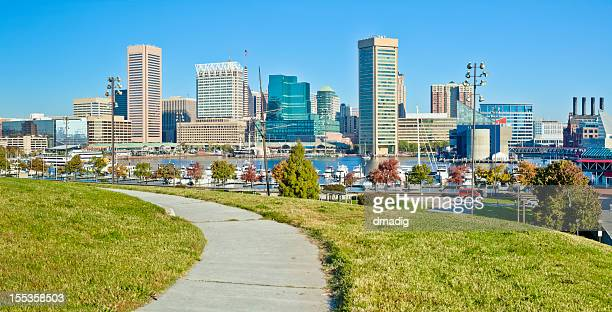 baltimore, federal hill inner harbor view - baltimore stock photos and pictures