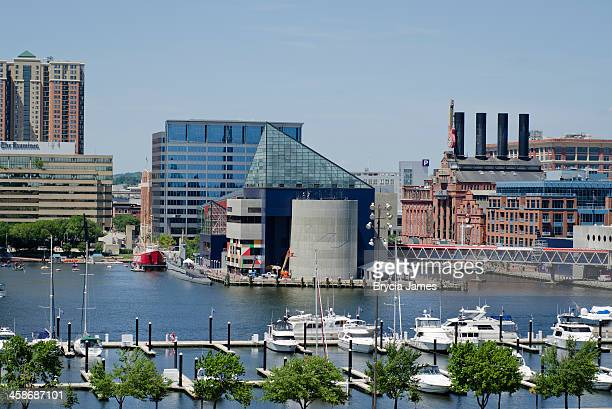 baltimore harbor and the national aquarium - national landmark stock pictures, royalty-free photos & images
