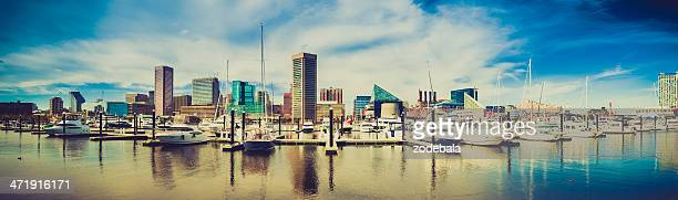 baltimore harbor cityscape, maryland, usa - baltimore stock photos and pictures