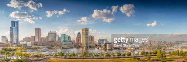 baltimore harbor in the afternoon - baltimore, maryland, usa, june 2019 - national landmark stock pictures, royalty-free photos & images