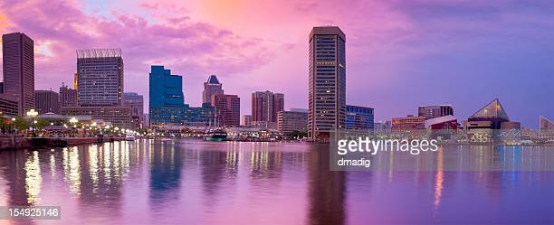 Baltimore Inner Harbor Amazing Sunset with Reflections on Water Panorama