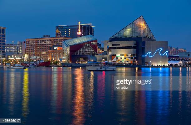 baltimore inner harbor and national aquarium - baltimore stock photos and pictures