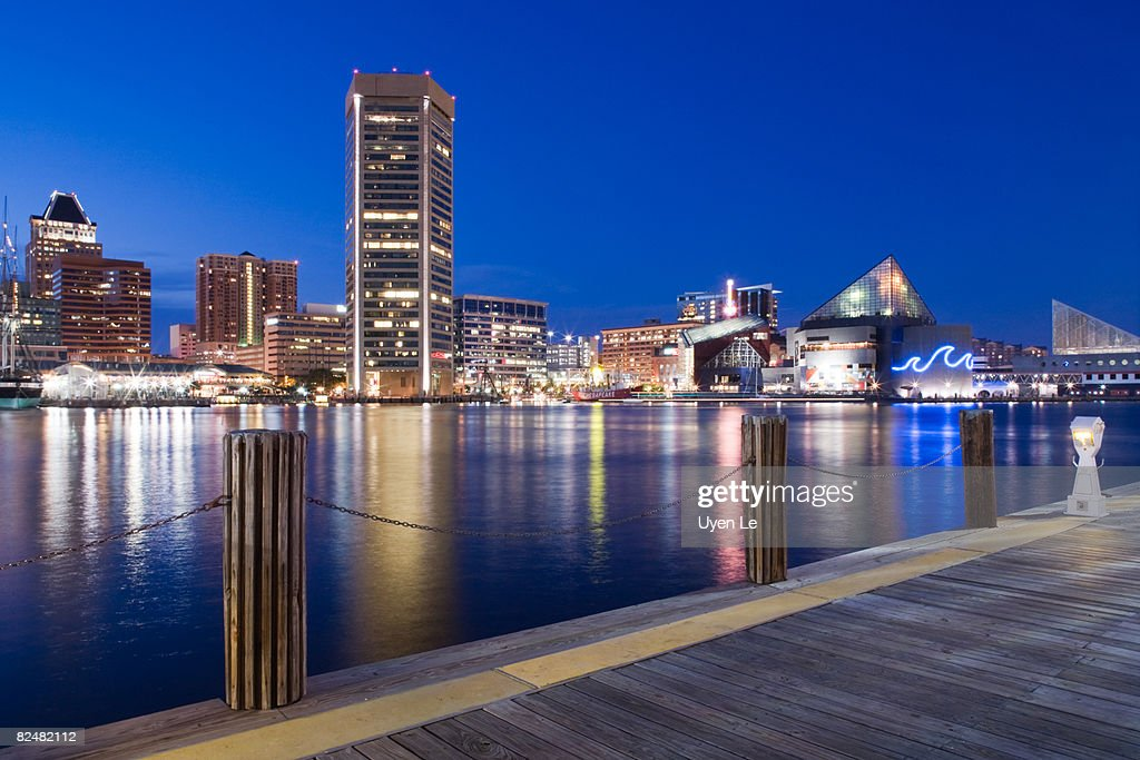 Baltimore Inner Harbor at Dusk : Stock Photo