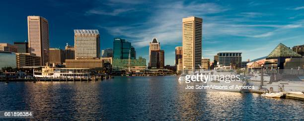 Baltimore Inner Harbor late afternoon lighting of ships and skyline Baltimore Maryland
