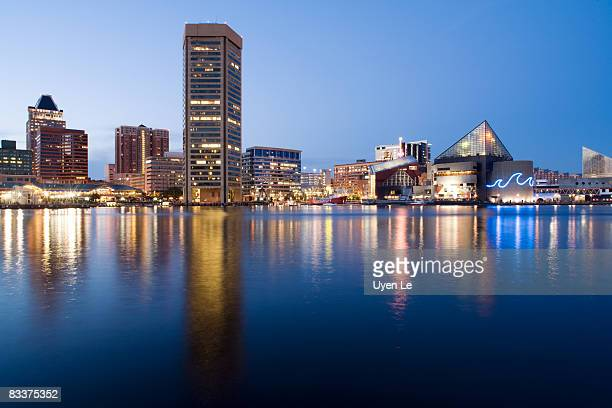 Baltimore Inner Harbor skyline at dusk