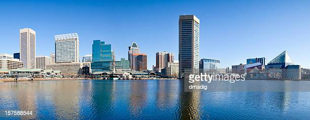 baltimore inner harbor with reflections in early morning - panorama - baltimore stock photos and pictures